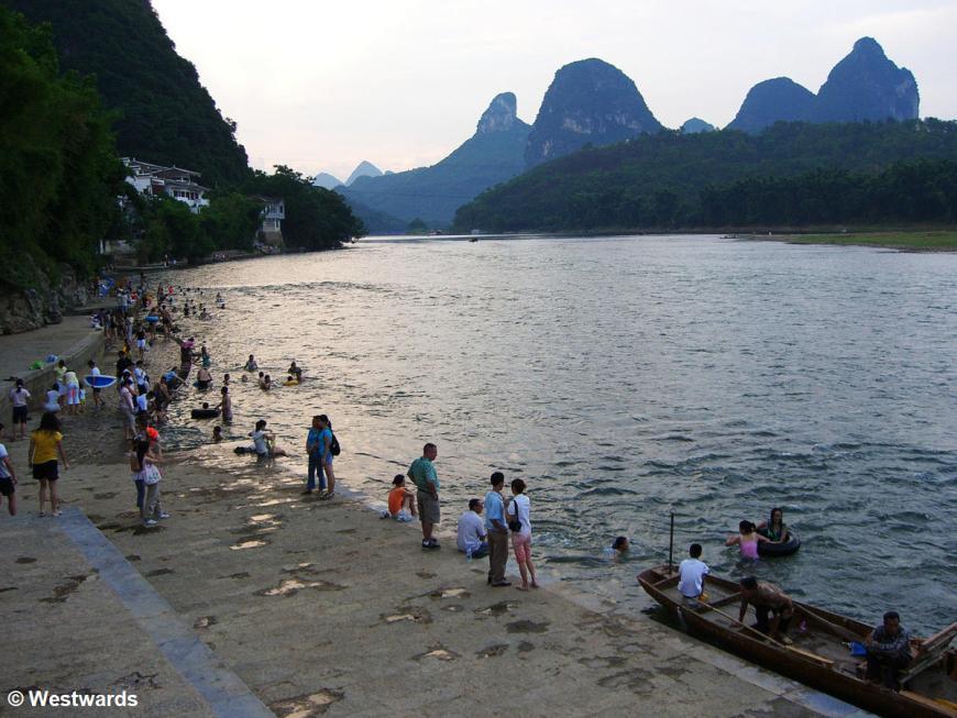 Bathers in the Li River, Yangshuo