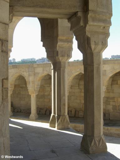 Stone columns in the courtyard of Shirvanshah palace in Baku