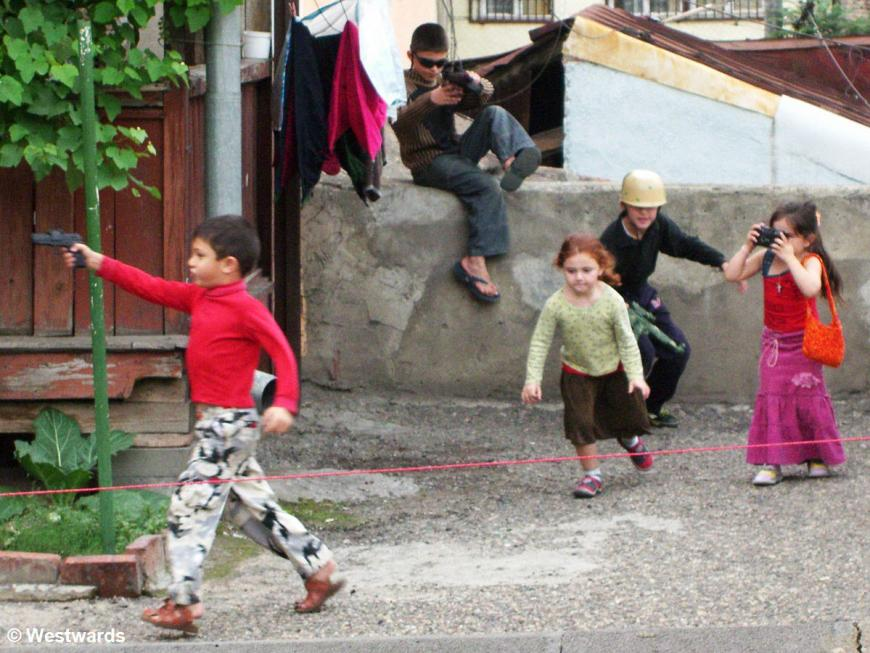 Georgian children playing war