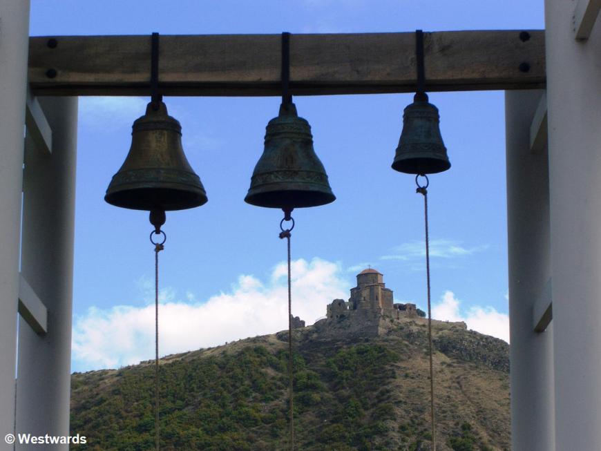 Church bells and a church on a hill in Georgia