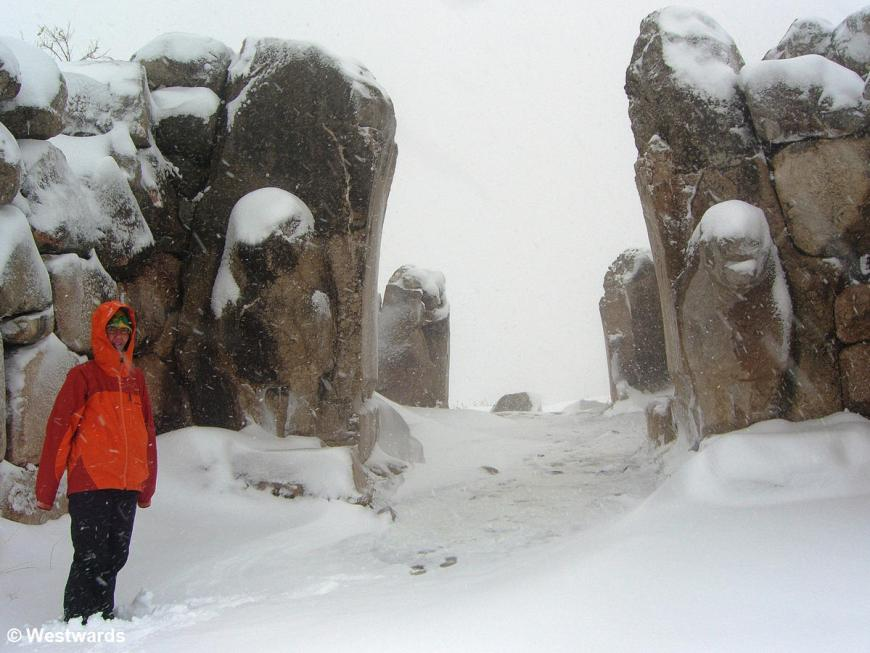 Natascha in deep snow at the gate of the Lions in Hattusha
