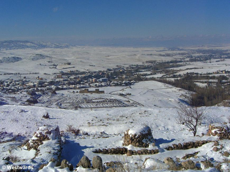 View from a hill on excavations of the ancient Hittite city of Hattusha