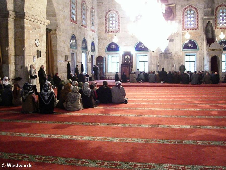 Turkish pilgrims before travelling to Mekka, in Sultan Bayazit Mosque in Amasya