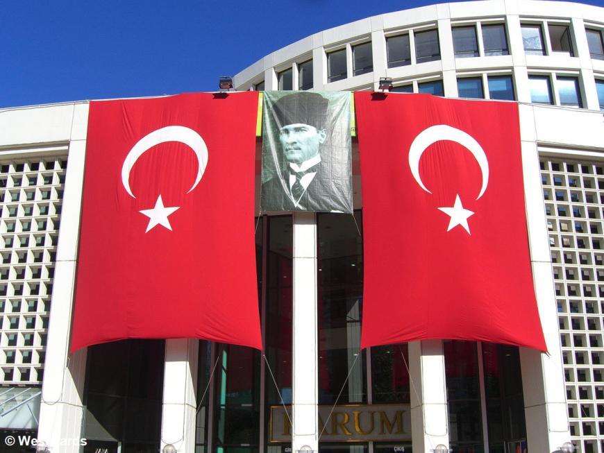 Turkish flags and huge portrait of Atatürk with Fes, in Ankara