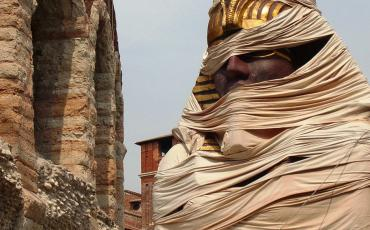Props for Aida outside the arena in Verona
