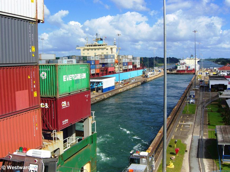 container ships in the Panama Canal and Gatun Locks