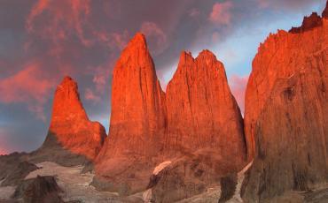 Pink sunrise on Torres del Paine
