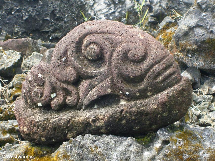 Stone detail at Marae Taputapuatea complex, a Polynesian ritual place on Raiatea