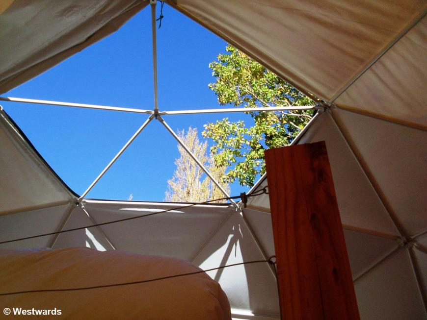 open roof of Astro Lodge dome tent in Elqui Valley