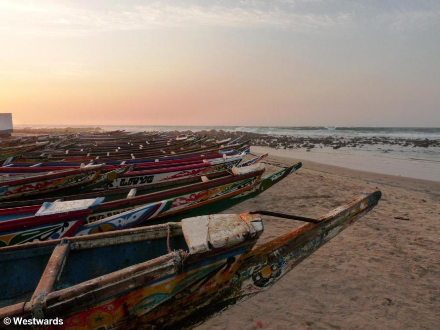 pirogues on the beach of Yoff near Dakar