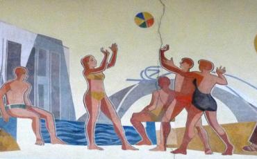 Soviet style mural with bathing people