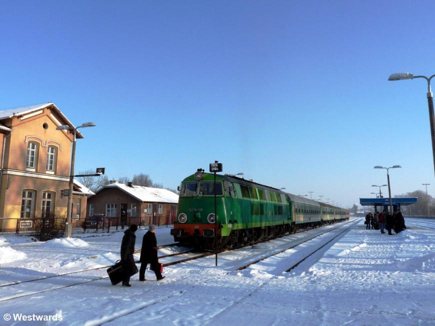 Ketrzyn station in snow