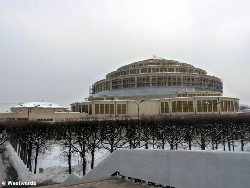 Wroclaw Centennial hall in the snow