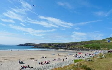 Whitesands Bay beach with bathers