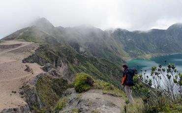 Hiker at the Laguna Quilotoa