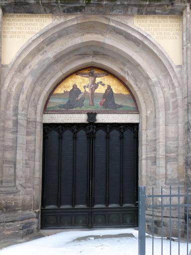20140131 Wittenberg Schlosskirche Thesentuer P1050177