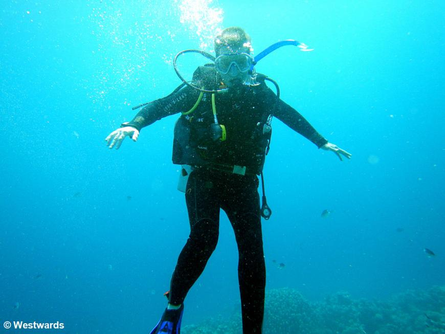 Isa underwater, as an unsteady diver