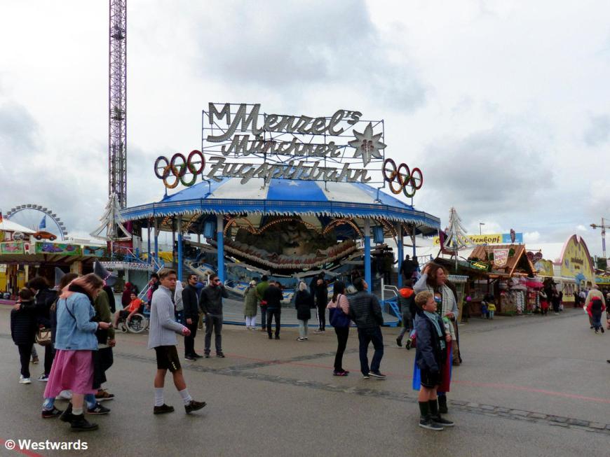 Fairground attraction Menzels Zugspitzbahn at Munich Oktoberfest