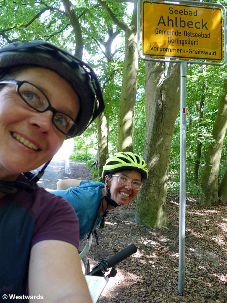 Isa and Natascha cycling the Oder-Neisse trail about to enter Ahlbeck