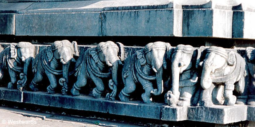 Elefant sculpture ornament in Belur
