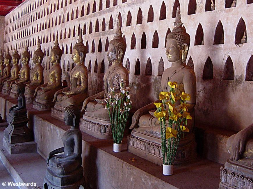 Laotian buddhas in Vat Si Saket in Vientiane