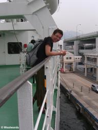 Natascha on the ferry from Kobe to China