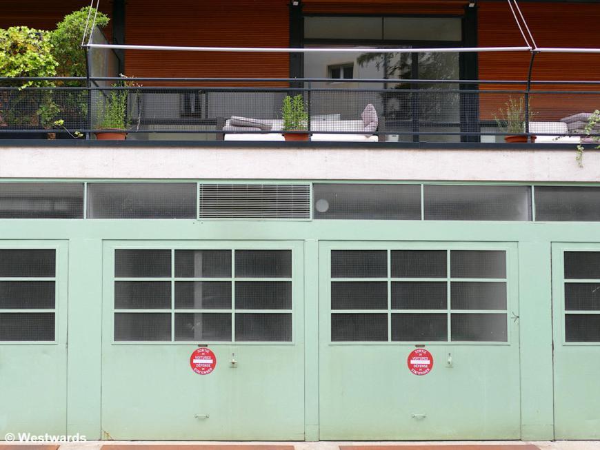 Garages and balconies of Le Corbusier's Maison Clarte in Geneva