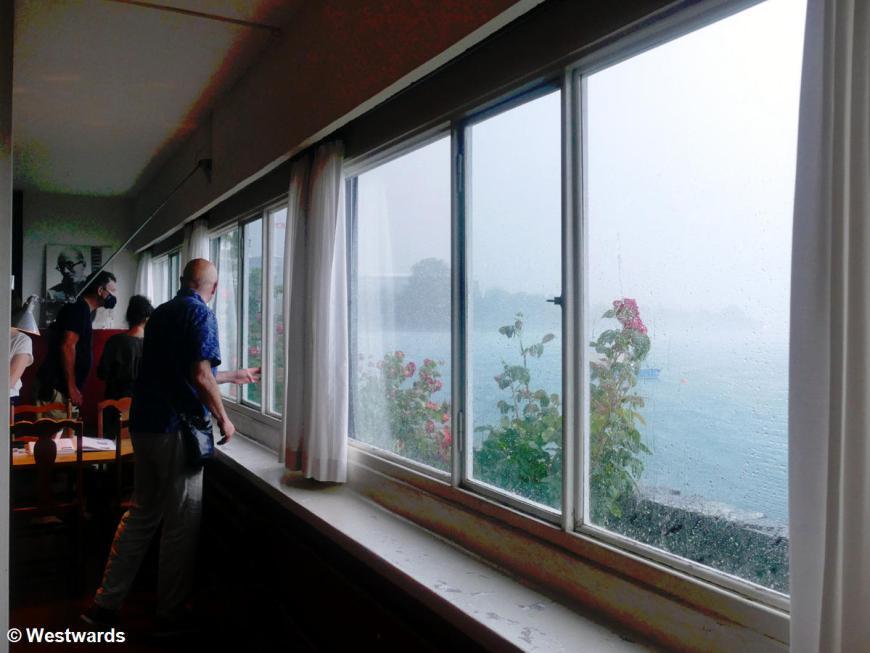 Rain coming through the windows of Le Corbusier's Villa le Lac