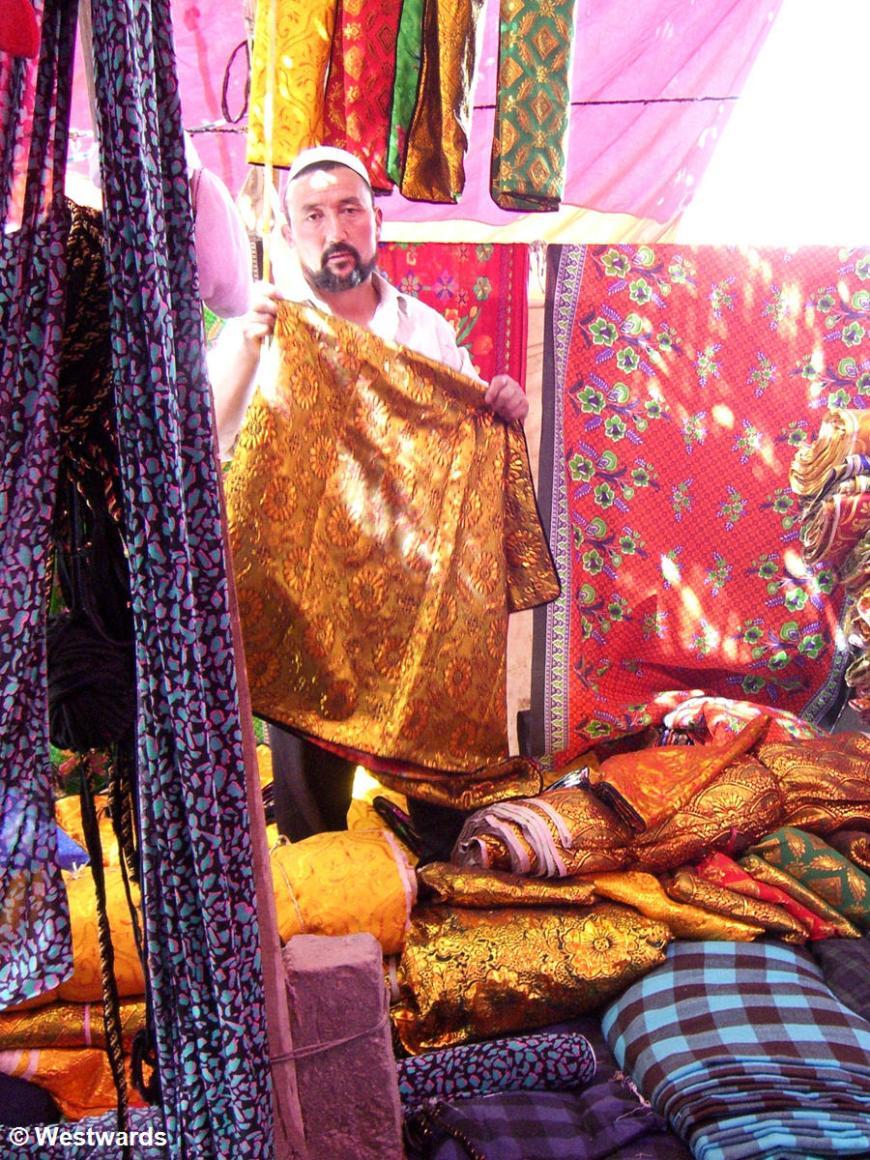 Cloth seller in the Hotan Sunday Market