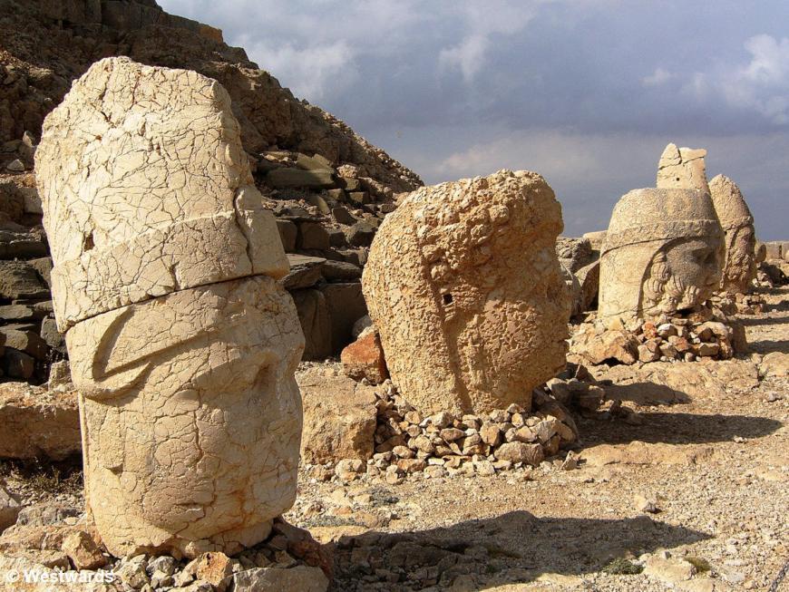 Huge stone heads on the Eastern Terrace of Mount Nemrut, Turkey