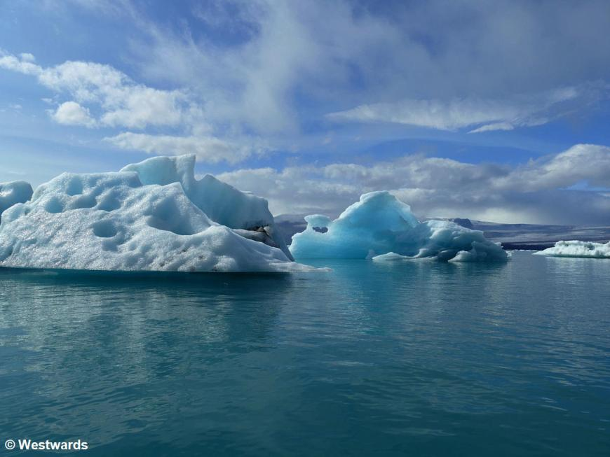 A freshly-flipped iceberg in the Joekulsarlon lagoon