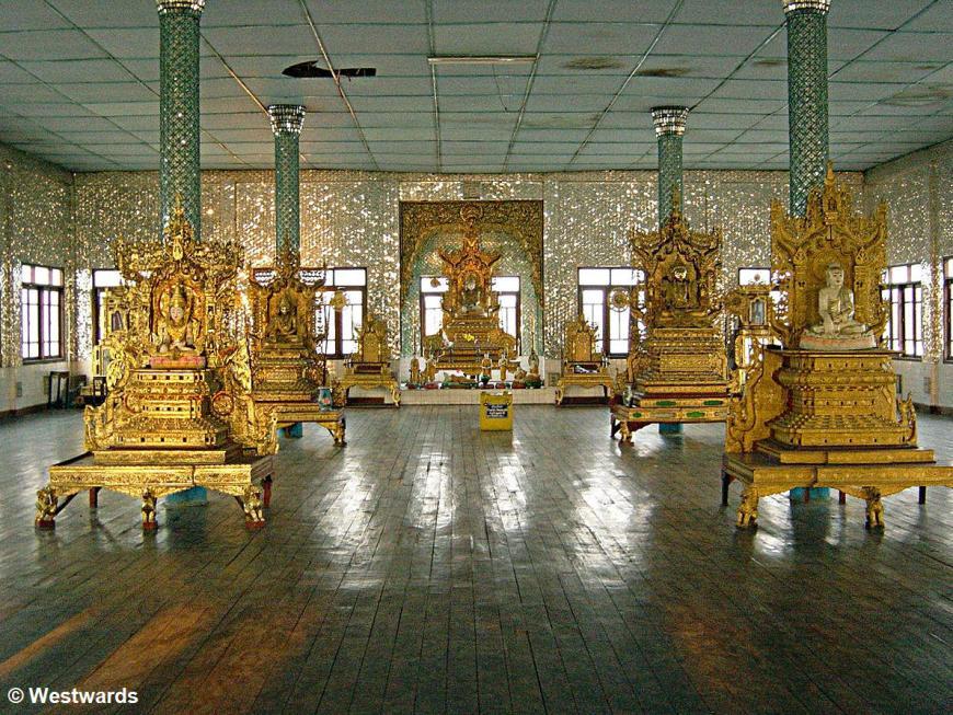 Golden Buddhist altars at Mae Sot Wat Temple in Wattanaram