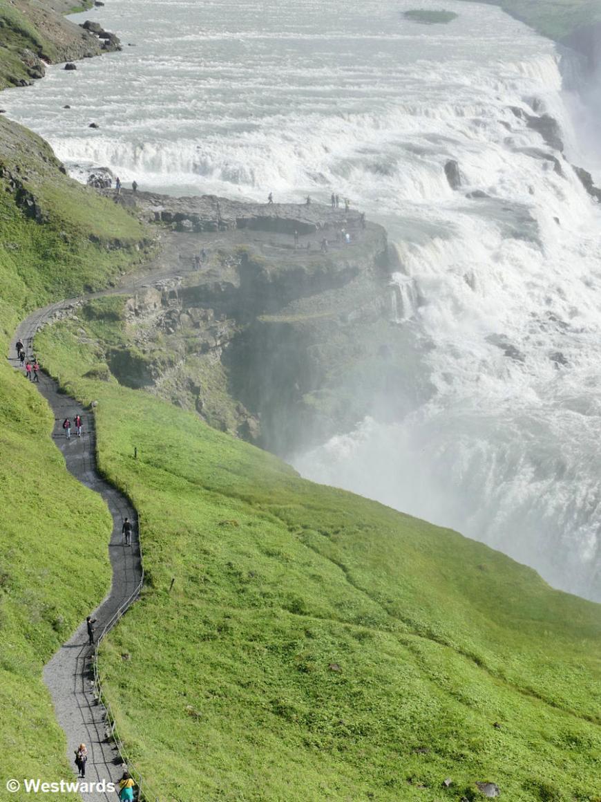 Gulfoss with broad tourist pathways