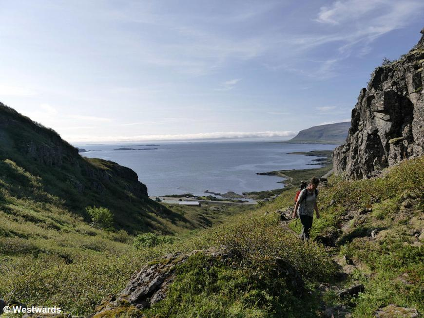 A hiking trail in the Westfjords of Iceland from Flokalundur to Helluvatn