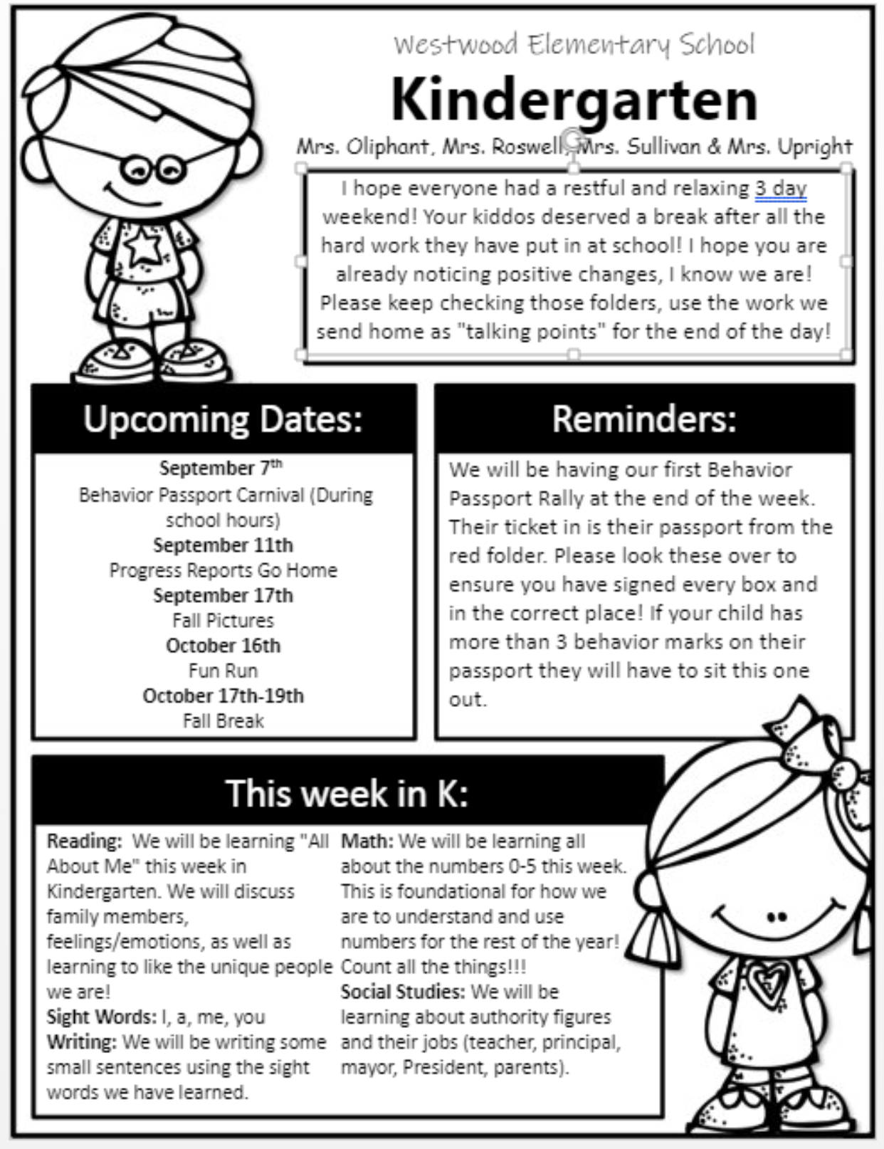 Kindergarten Newsletter September 3