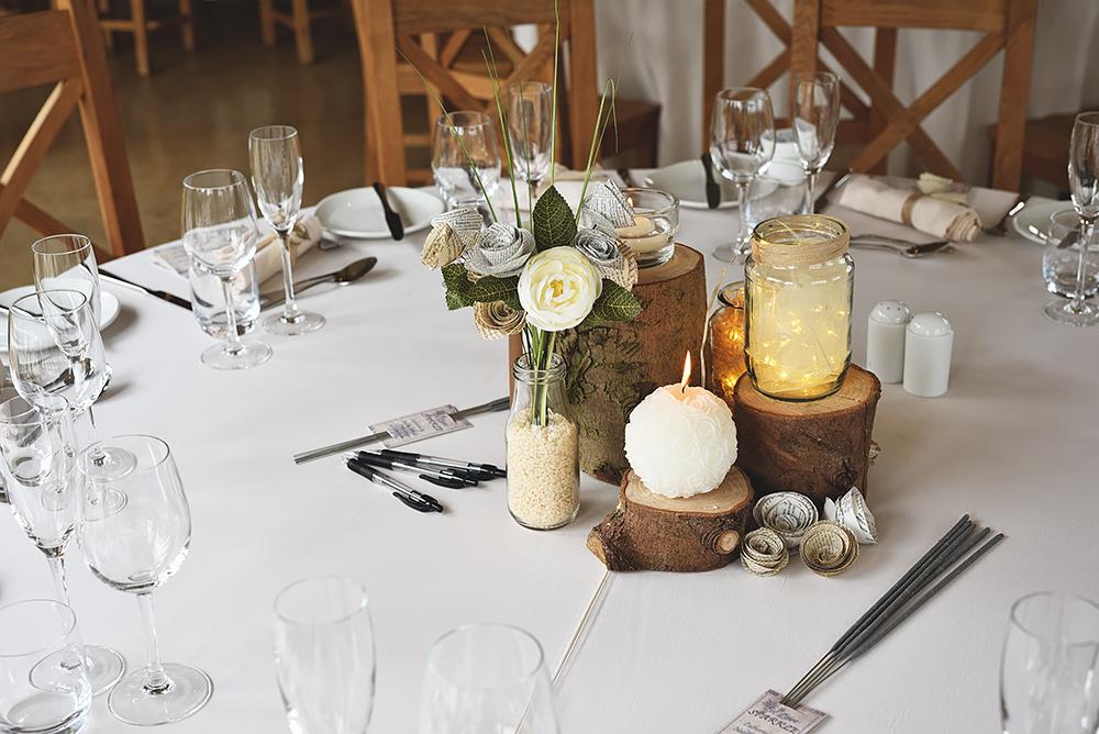 DIY wedding decorations inside Tower Hill Barns