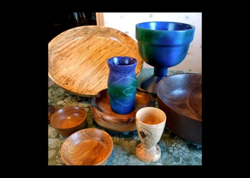Shown here are some of the bowls and vases made recently by Wes Kolkmeier of St. Charles. Kolkmeier uses a variety of wood found in Missouri including walnut, sasafras, hackberry, elm and sycamore which are all represented here.