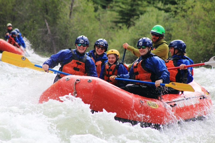 Family white water rafting on Blue River, Colorado
