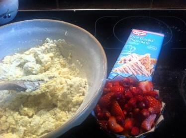 white choc and strawberry scones