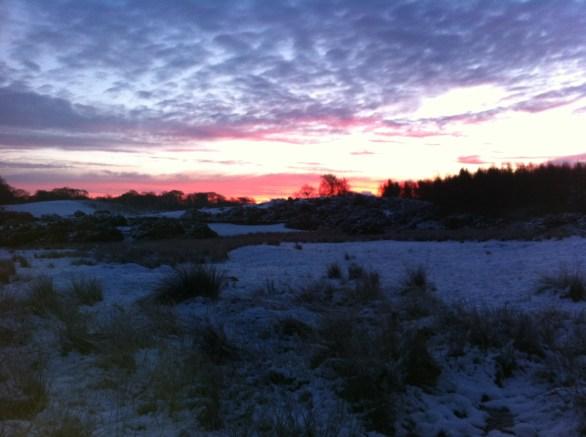 sun set snow