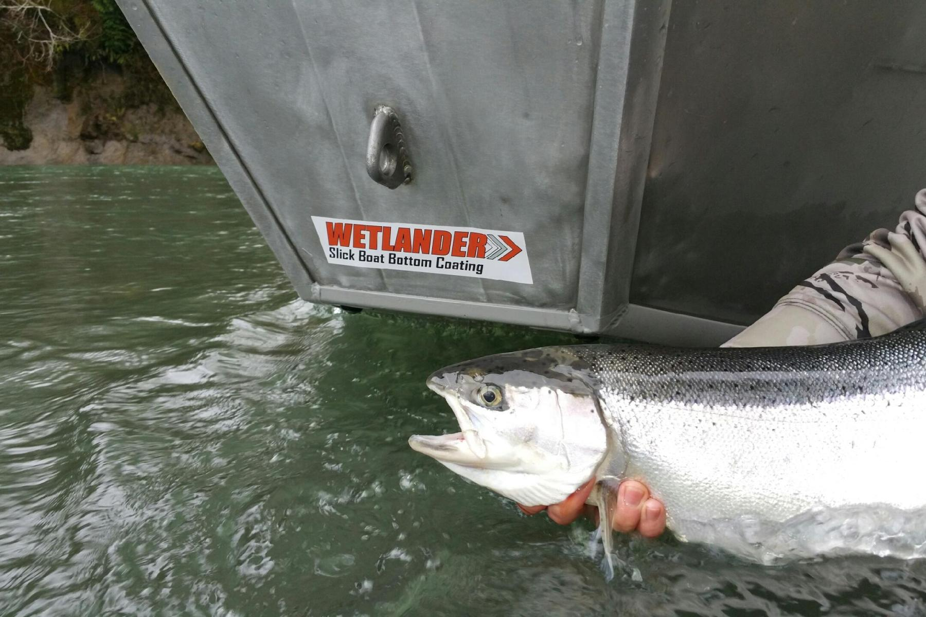Wetlander slick coating on a aluminum drift boat
