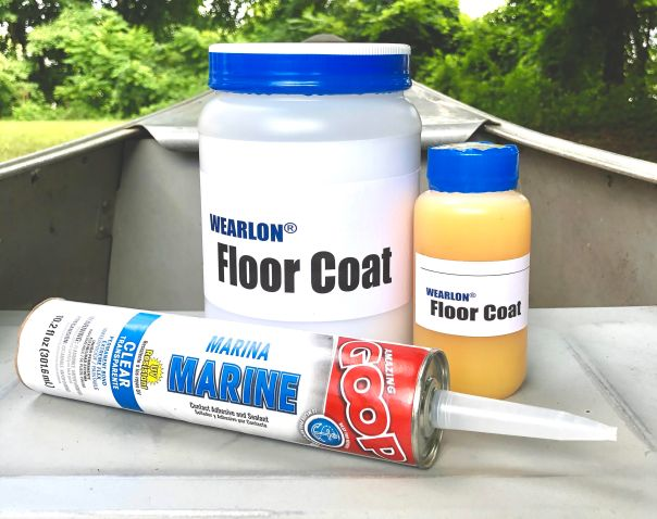 Image of Wearlon Floor Coat non-skid floor paint for aluminum boats, with a tube of rivet sealant, Amazing Goop Marine in a 10 oz. tube.