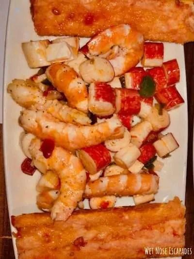 best tapas in barcelona, shrimp salad