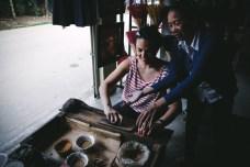 Stefania making incense in Vietnam