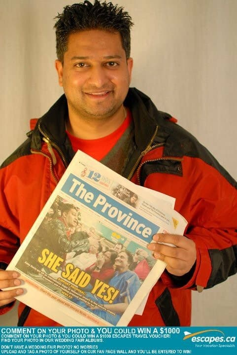 Best Things to Do in Vancouver Canada Ricky Shetty with newspaper proposal
