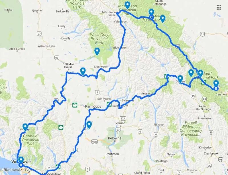 Kanada-Rundreise-route-2-wochen