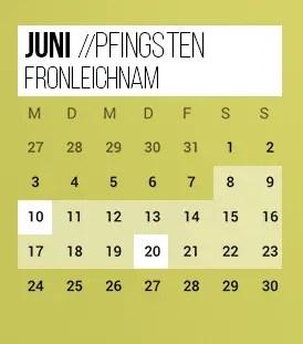 Brückentage 2019 Pfingsten