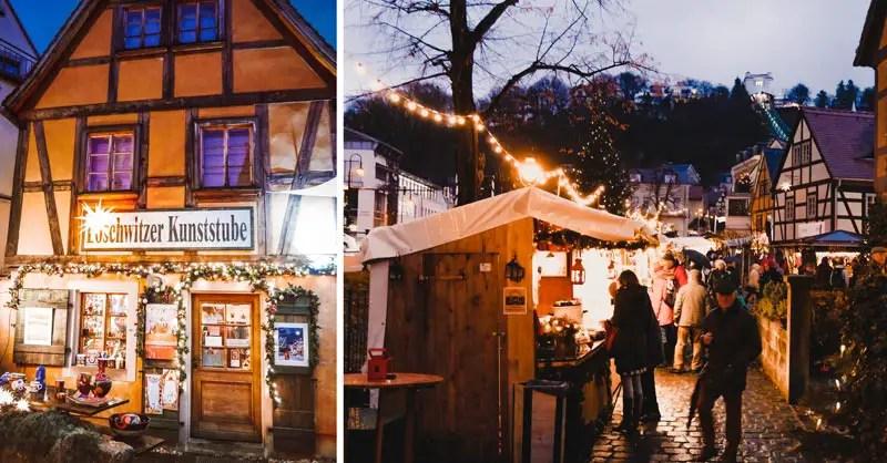 Dresden Sehenswürdigkeiten im Winter Weihnachtsmarkt Loschwitz