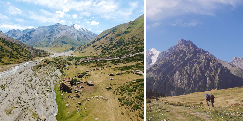 Wunderschöne Landschaft beim Trekking in Kirgistan