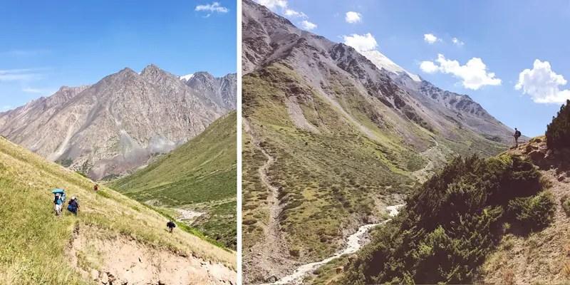 Unwegsames Gelände beim Trekking in Kirgistan